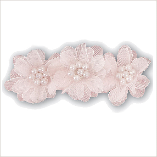 Baby Pink Flower Girl Hairclip with Three Flowers