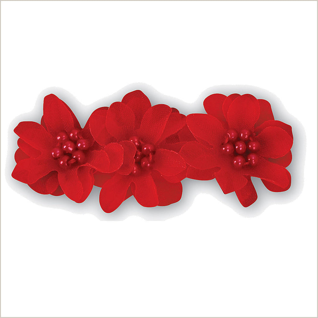 Red Flower Girl Hairclip with Three Flowers