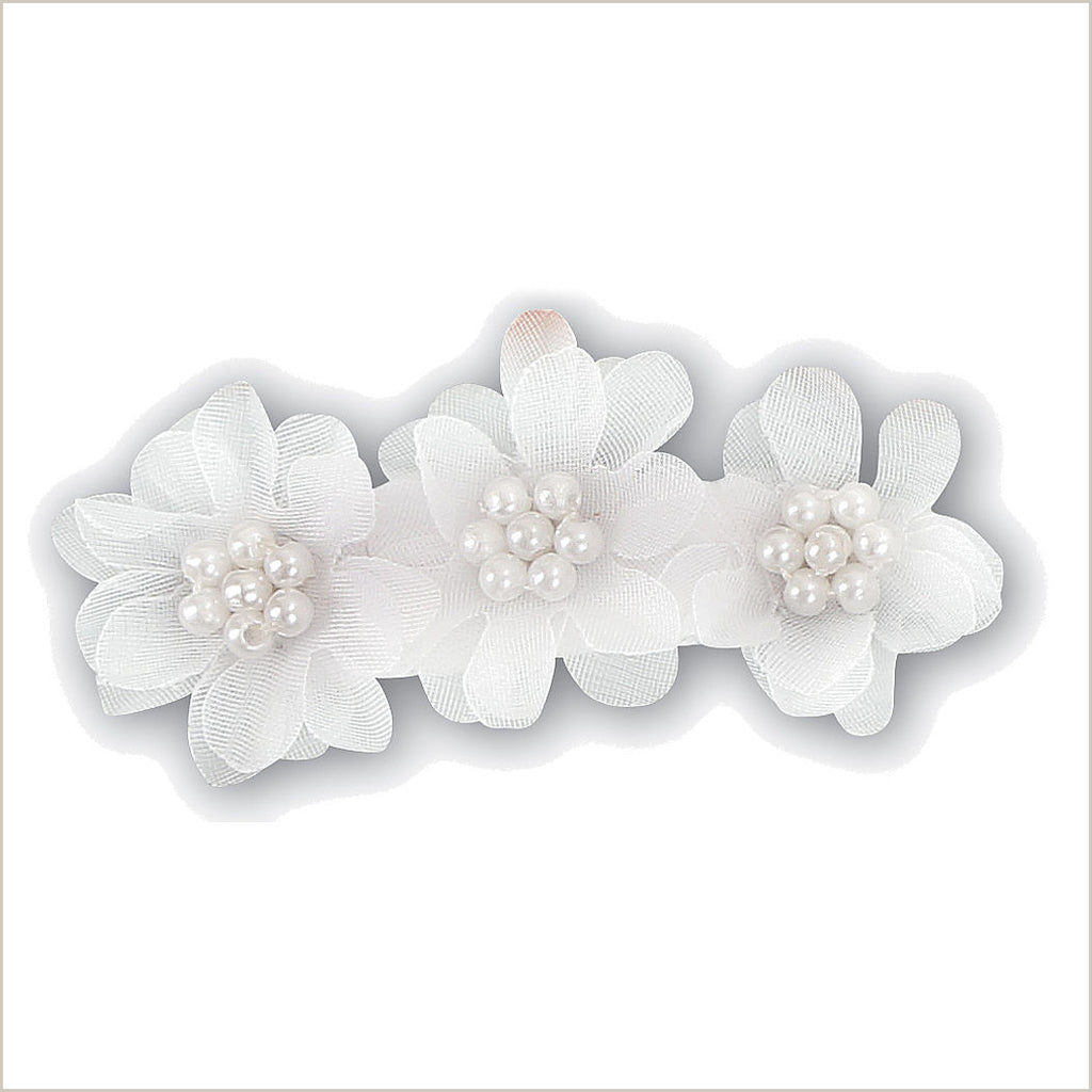 White Flower Girl Hairclip with Three Flowers