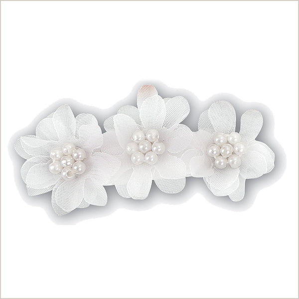 Flower girl hair accessories including clips hairbands tiaras bows white flower girl hairclip with three flowers mightylinksfo
