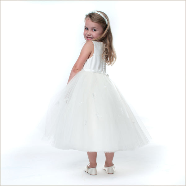 Mia Ivory Embroidered Full Tulle Skirted Flower Girl Dress