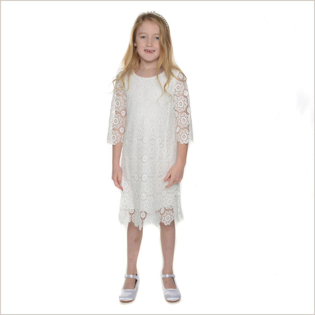 Aria Boho Style Ivory Crochet Lace Flower Girl Dress 6y Last One