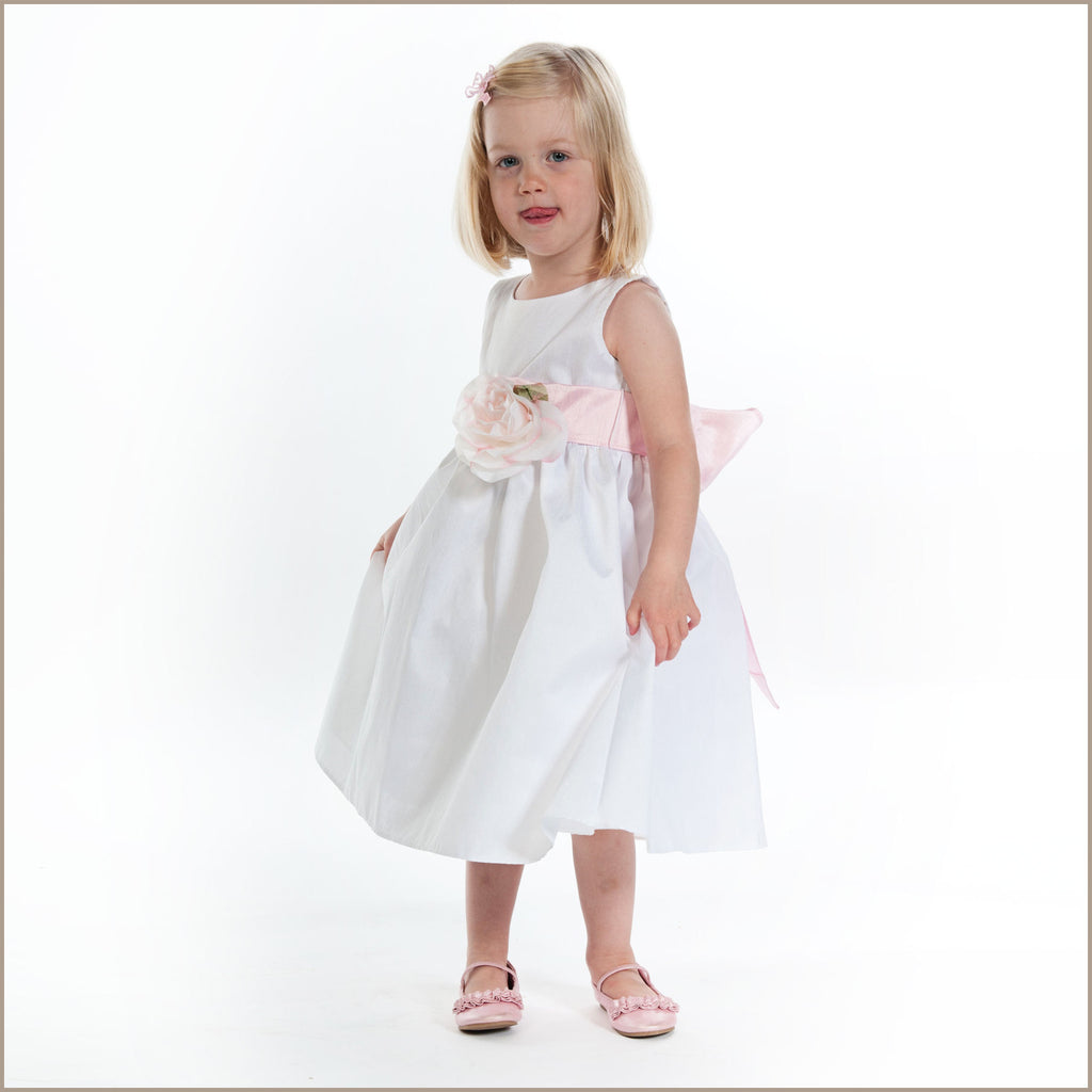 Libby Polysilk White Flower Girl Sash Dress