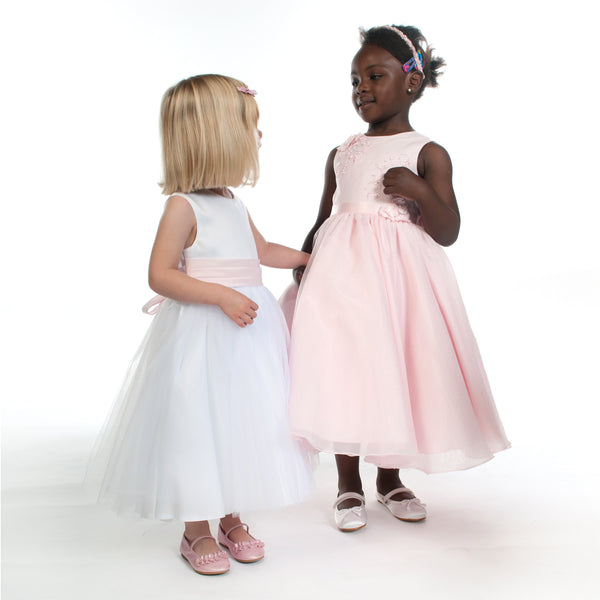 Samantha Flower Girl Dress with Full Skirt in Pink