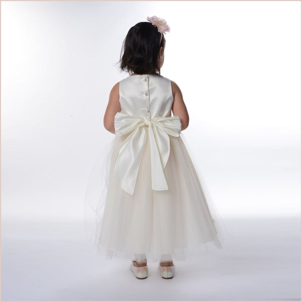 Sparkle Diamante Flower Girl Dress in Ivory