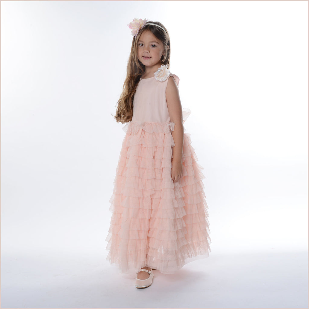 Amelie Blush Pink or Peach Chiffon Flower Girl Dress with Ruffle Skirt and Flower Brooch