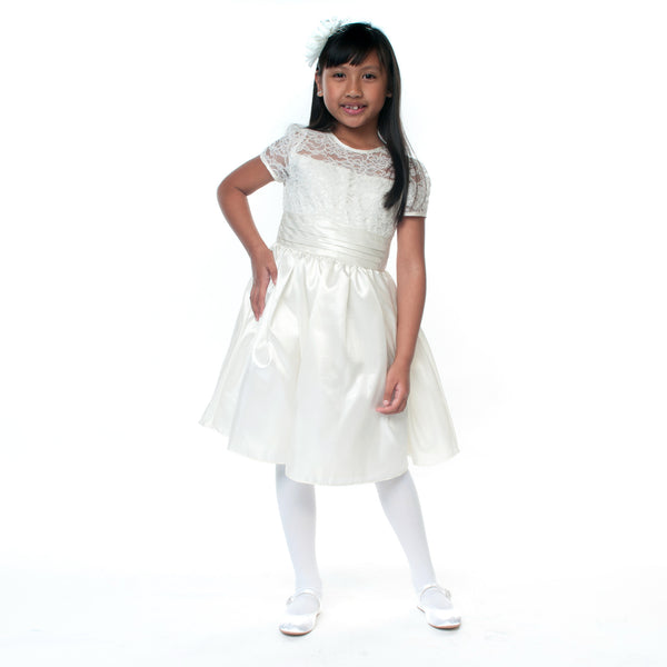 Roxanne Ivory Lace & Taffeta Flower Girl Dress