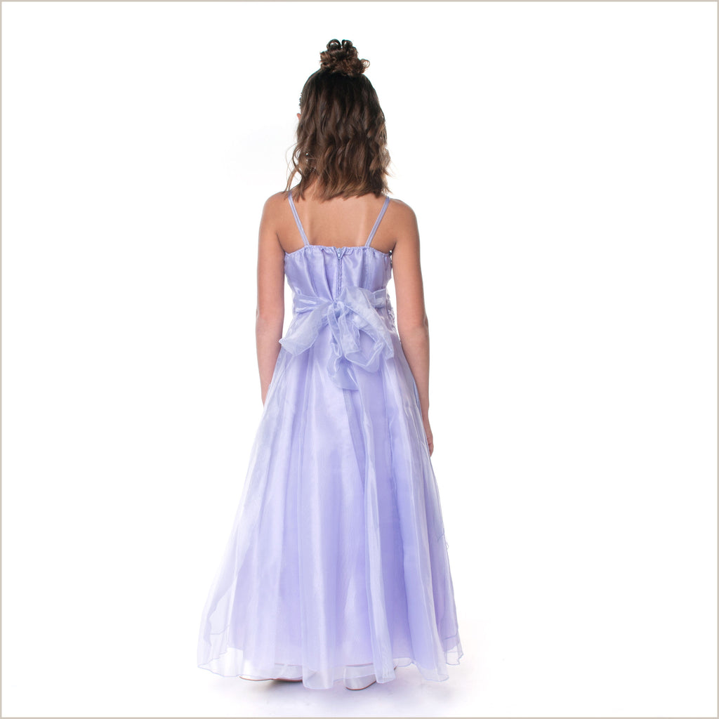 Jessica Lilac Long Organza Dress with Caviar Beading