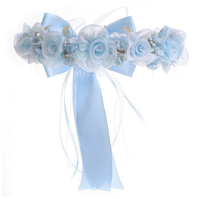 Light Blue Floral Crown with Bow 52
