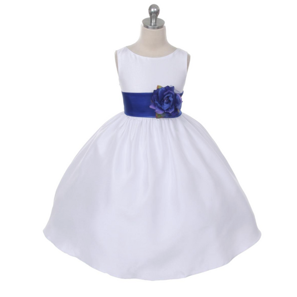 Belle White Flower Girl Dress with Removable Sash
