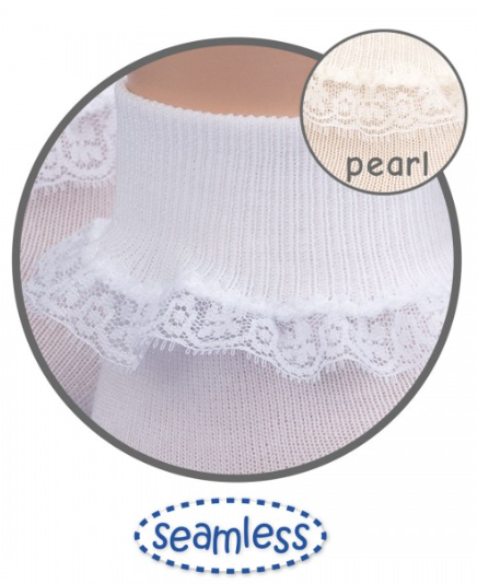 Ivory Simplicity Lace Edged Flower Girls Socks