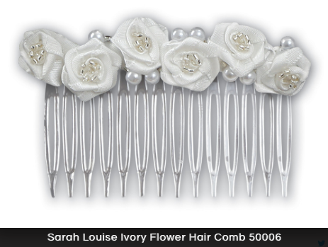 Sarah Louise Ivory Flower Hair Comb 50006
