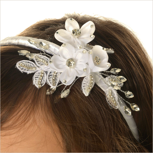 Ivory Alice Band with Diamantes & Flowers