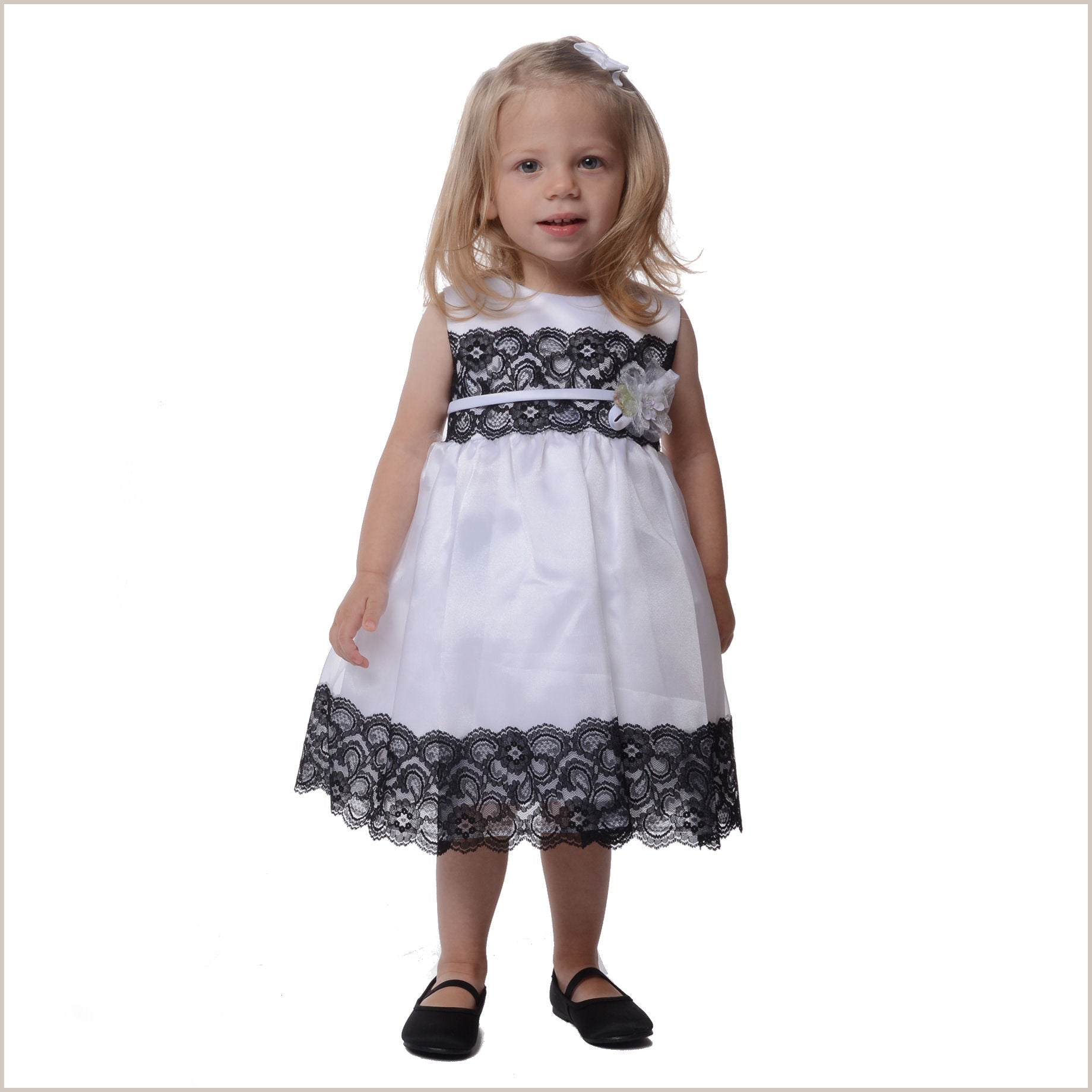 Anouk White Flower Girl Dress With Black Lace Trim