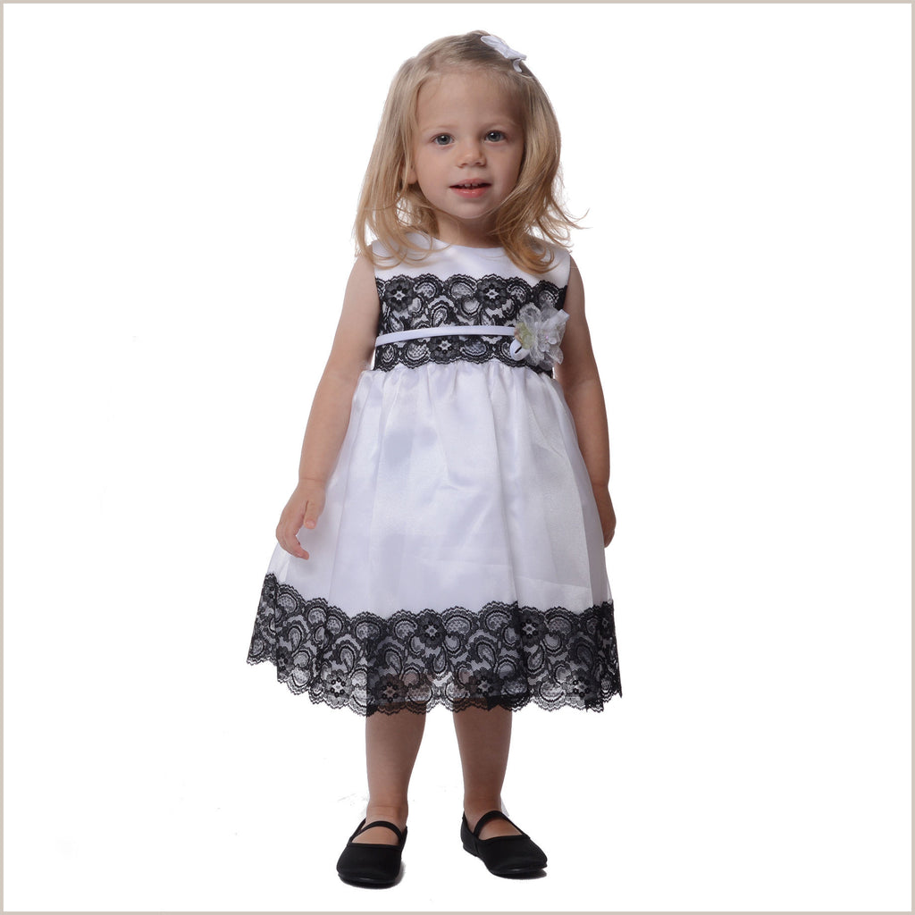 Anouk White Flower Girl Dress with Black Lace Trim Demigella Flower Girl Dr