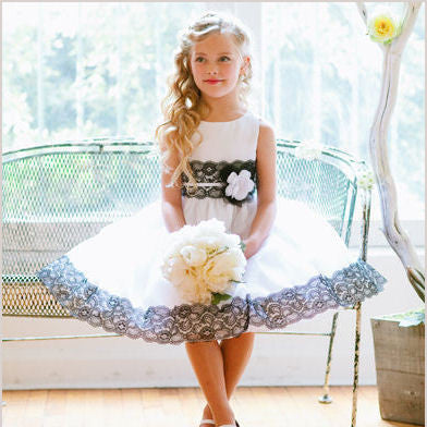 Anouk White Flower Girl Dress with Black Lace