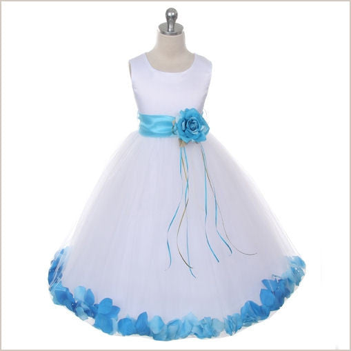 Ivory Petal Dress with Aqua Petals - 5 weeks delivery