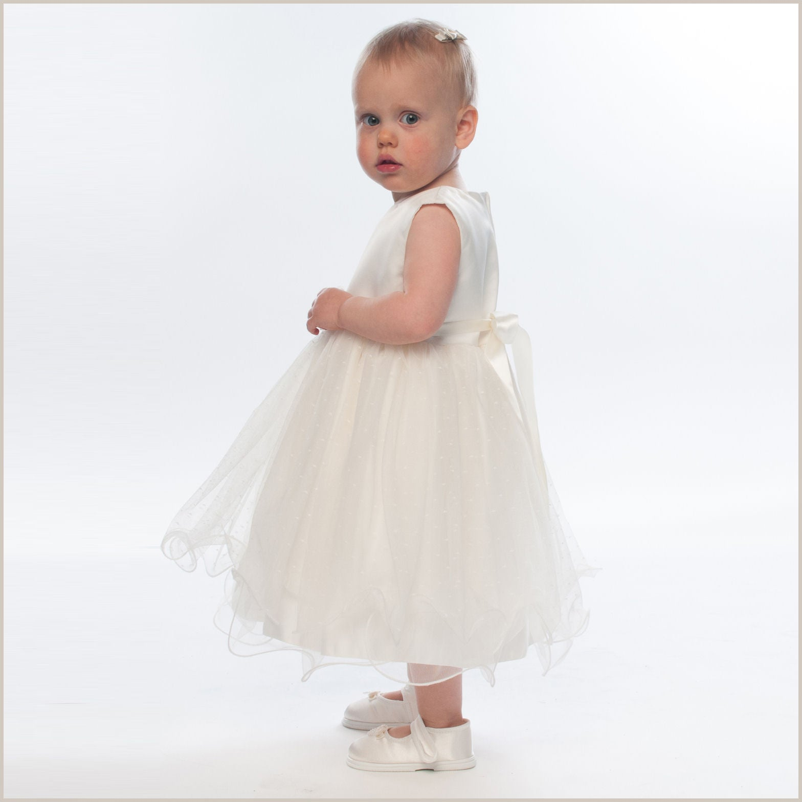 Verity Ivory Frilly Baby And Toddler Flower Girl Dress Jacket
