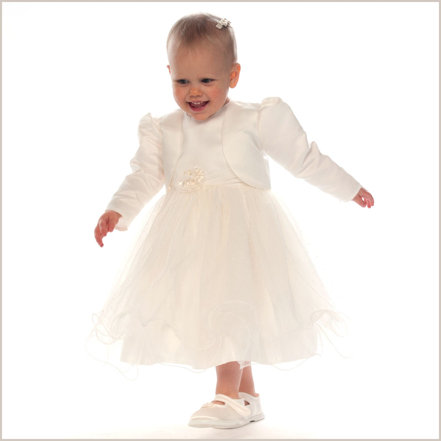 Verity Ivory Frilly Baby and Toddler Flower Girl Dress