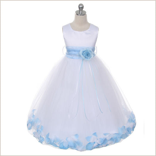 Ivory Petal Dress with Baby Blue Petals -5 weeks for DELIVERY