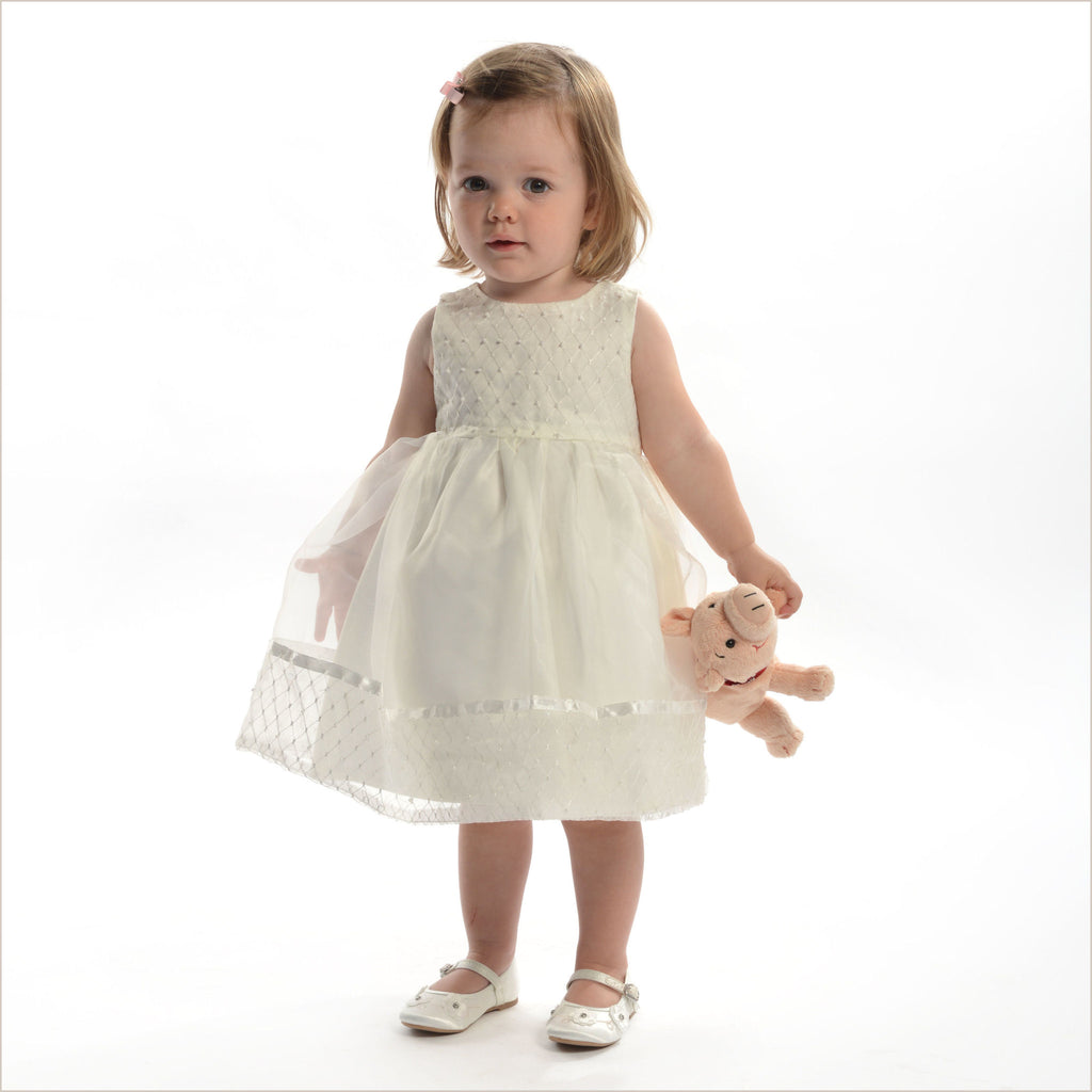 Birdie Toddler Flower Girl Dress Ivory with Criss Cross Pattern