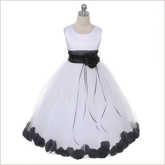 Ivory Petal Dress with Black Petals -5 weeks for DELIVERY