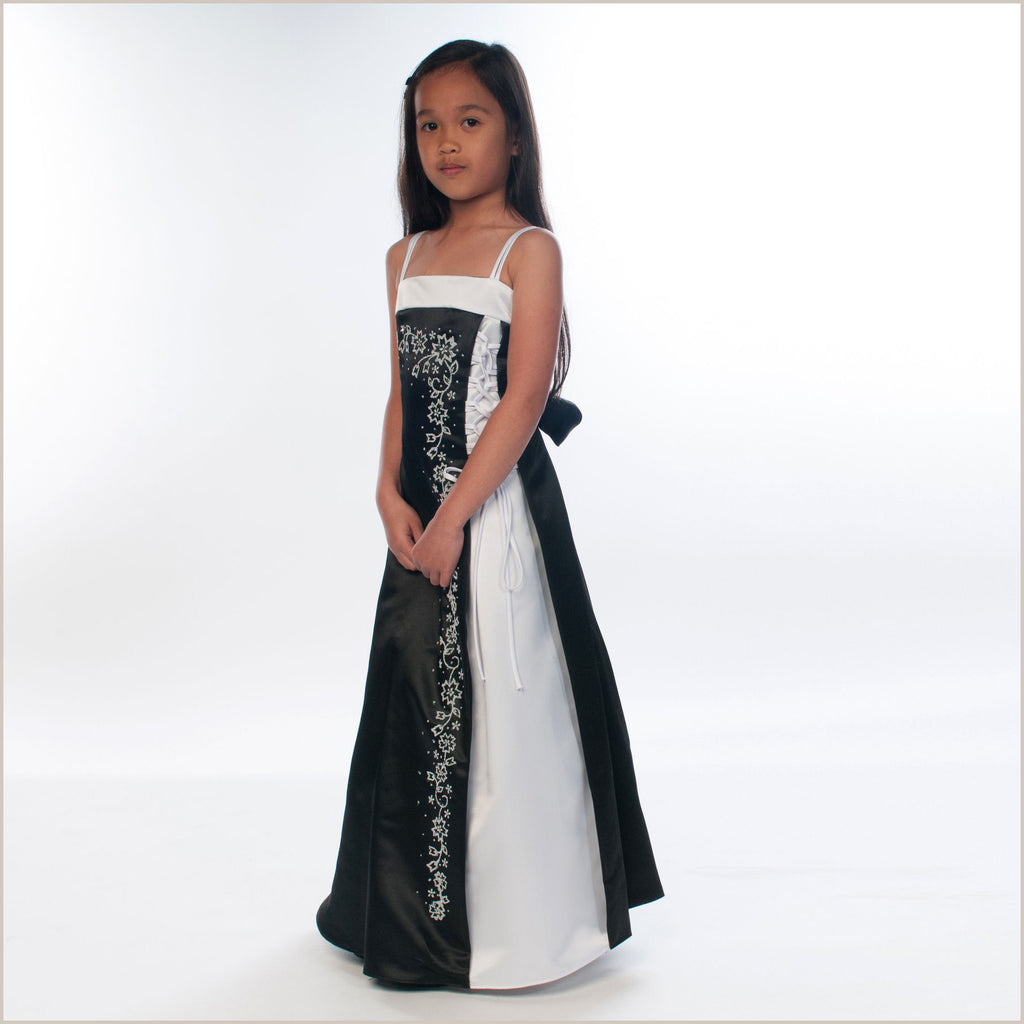 Tamsin Black and White Junior Bridesmaid Dress