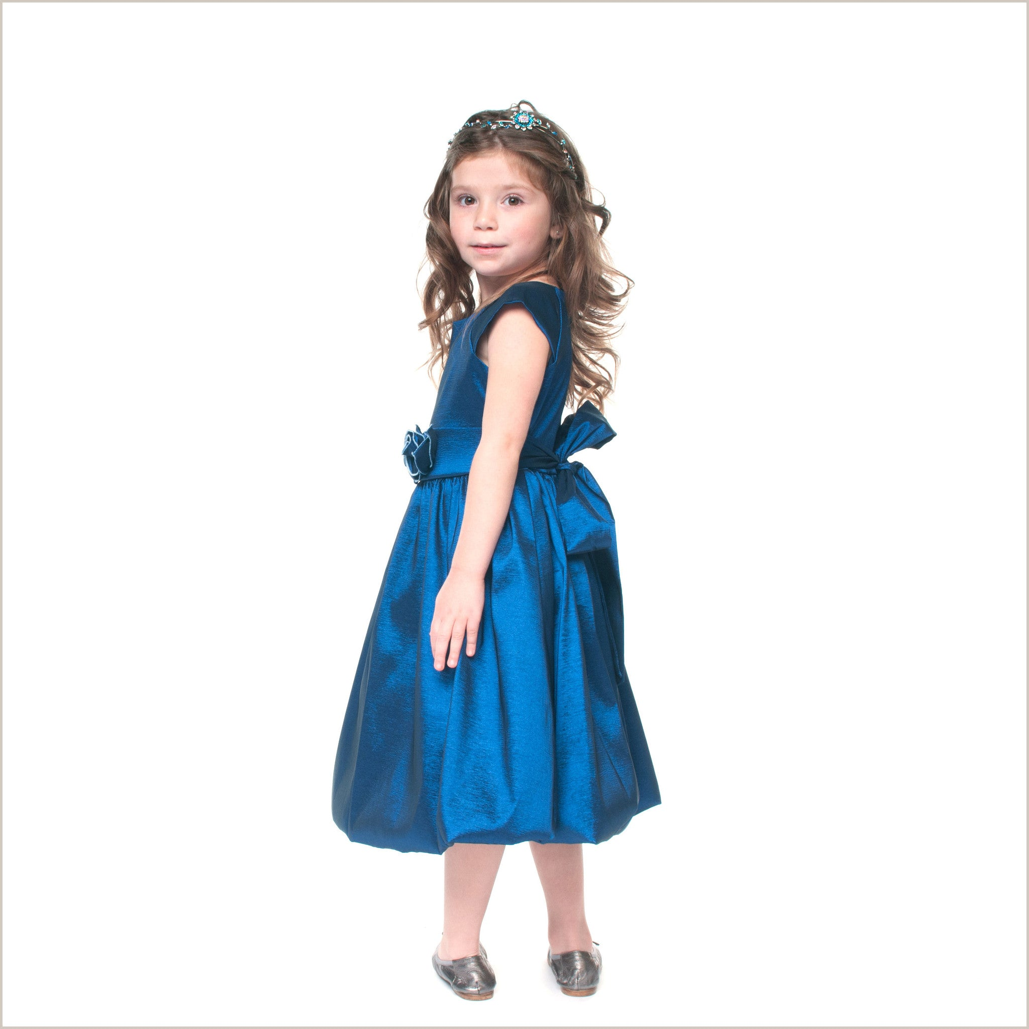 Julia dark blue taffeta childrens bridesmaid dress 2 12 years julia dark blue taffeta childrens bridesmaid dress ombrellifo Image collections