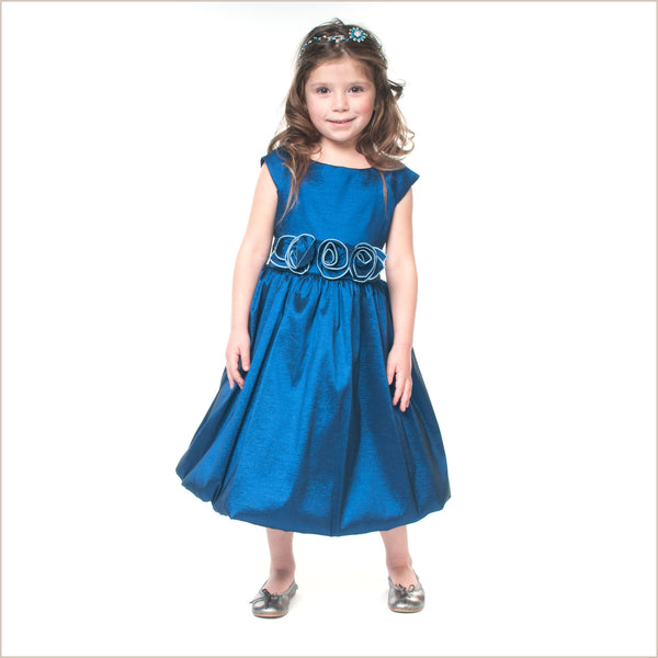 Julia Dark Blue Taffeta Childrens Bridesmaid Dress