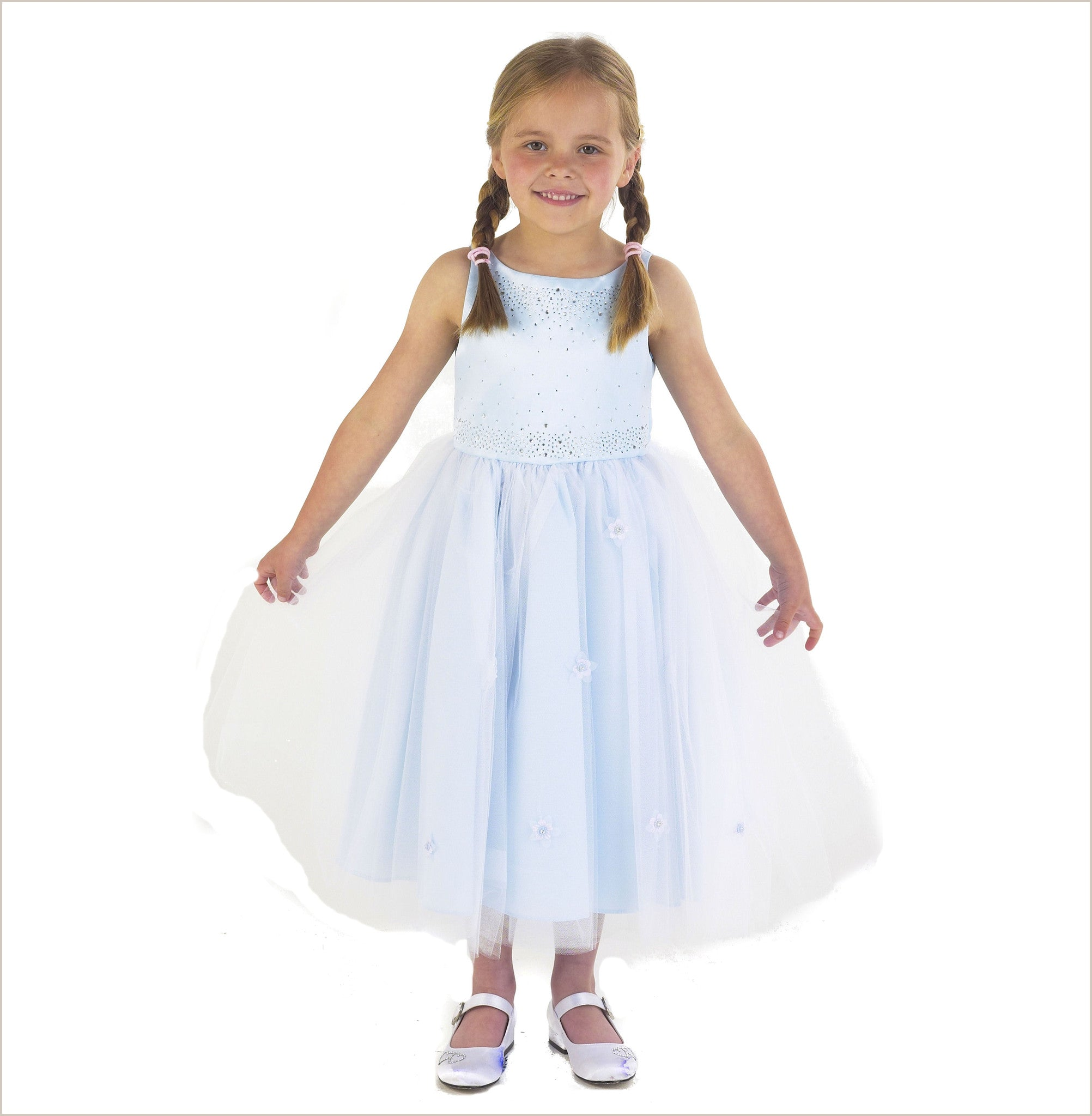 Blue flower girl dresses childrens bridesmaid dresses sparkle diamante flower girl dress in blue ombrellifo Choice Image