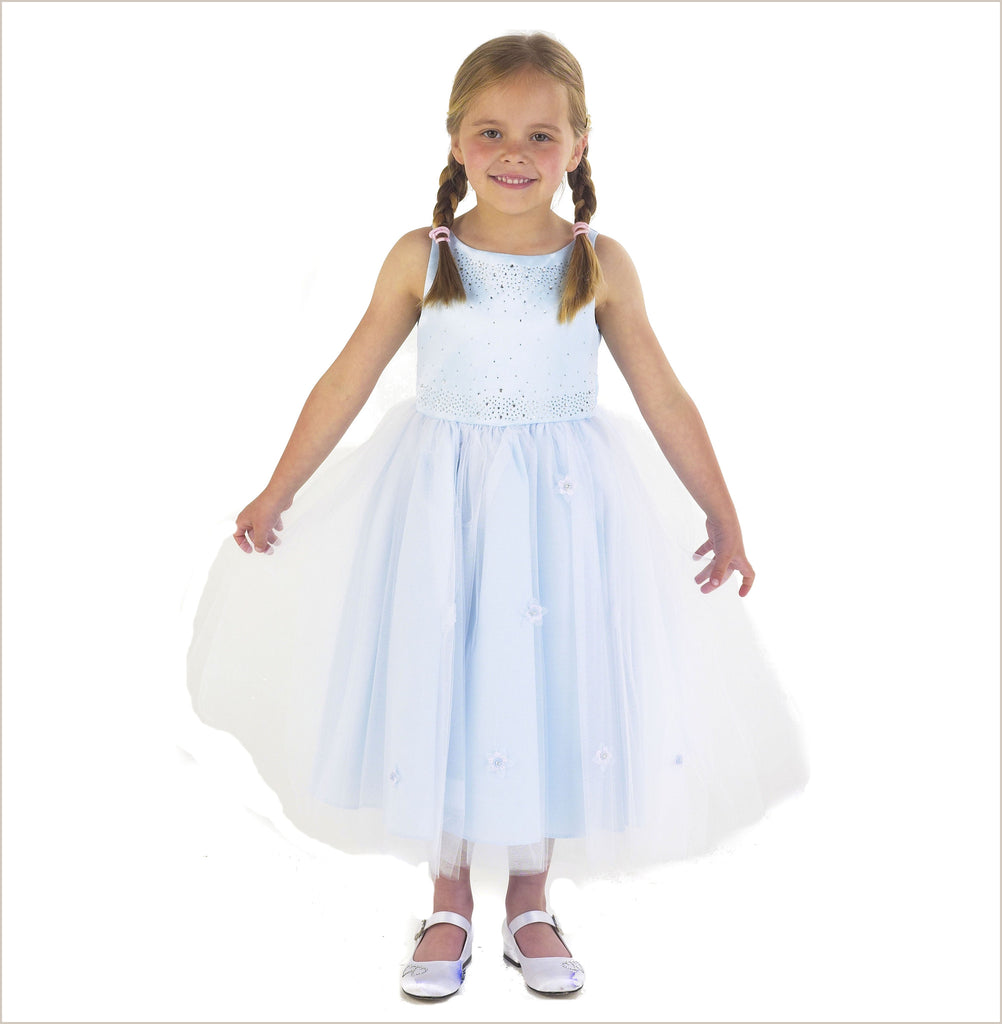 Sparkle Diamante Flower Girl Dress in Blue