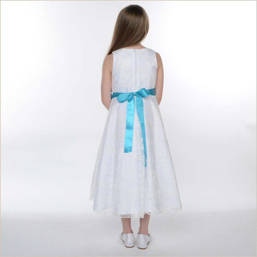 Bonny White Lace Dress with Your Choice of Sash