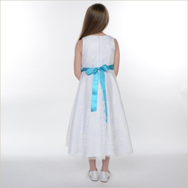 Bonny White Lace Dress (Interchangeable Sash)