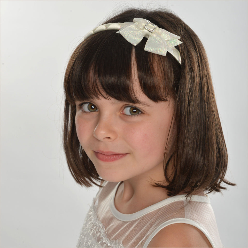 Ivory Woven Flower Girl Alice Band with Bow