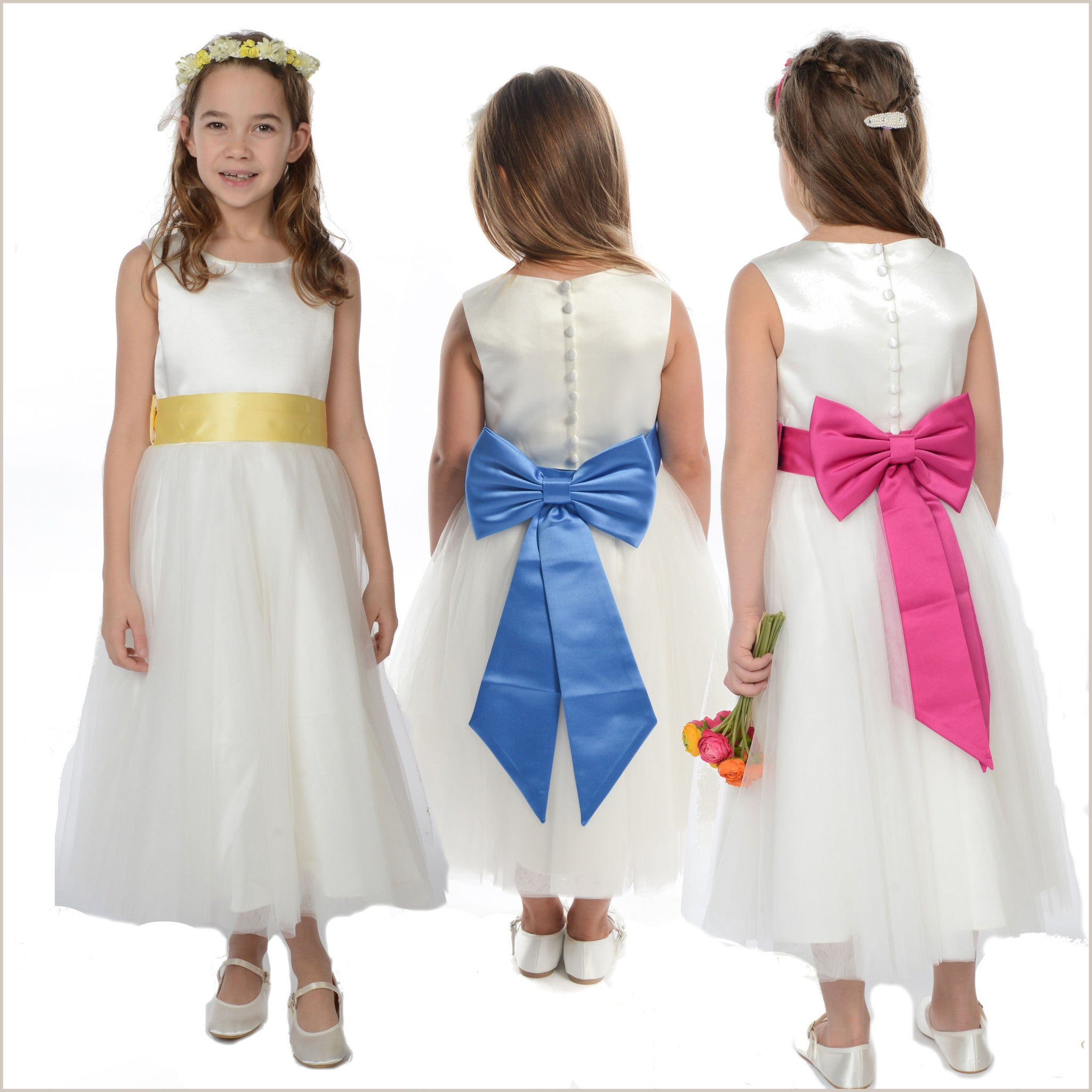 Pre Tied Bow Or Bows Sashes For Bridesmaid And Flower Girl Dresses