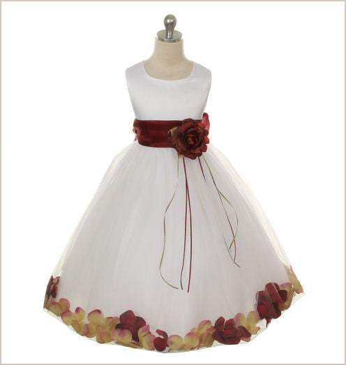 Ivory Petal Dress with Burgundy Petals 12y only