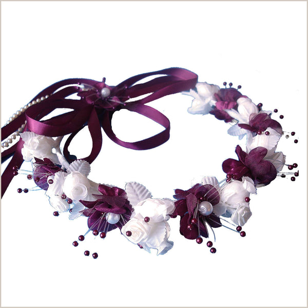 Burgundy and Ivory Floral Crown