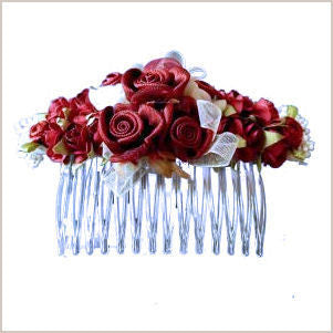 Burgundy Flower Hair Comb