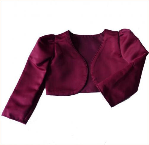 Long Sleeved Satin Jacket in White, Ivory & Burgundy