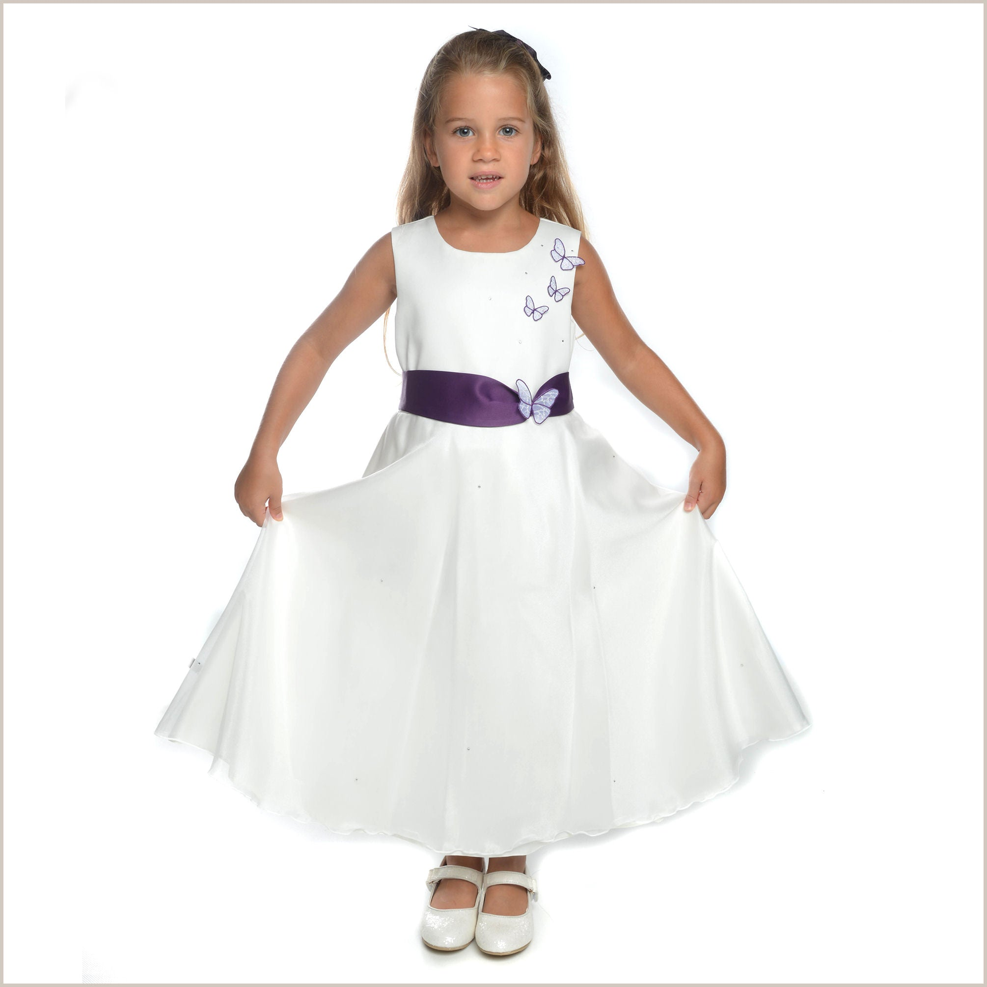 Eden butterfly flower girl dress in ivory and purple eden dress with purple sash butterflies mightylinksfo