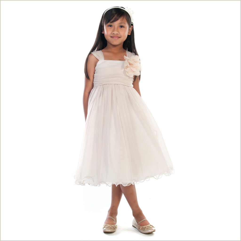 Safia Flower Girl Dress in Champagne Tulle