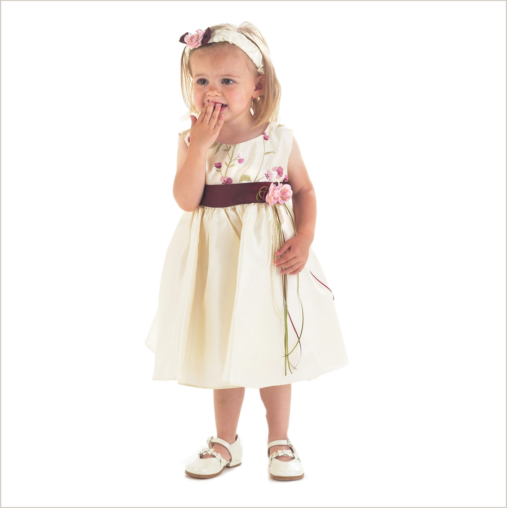 Susanna Burgundy and Champagne Embroidered Flower Girl Dresses