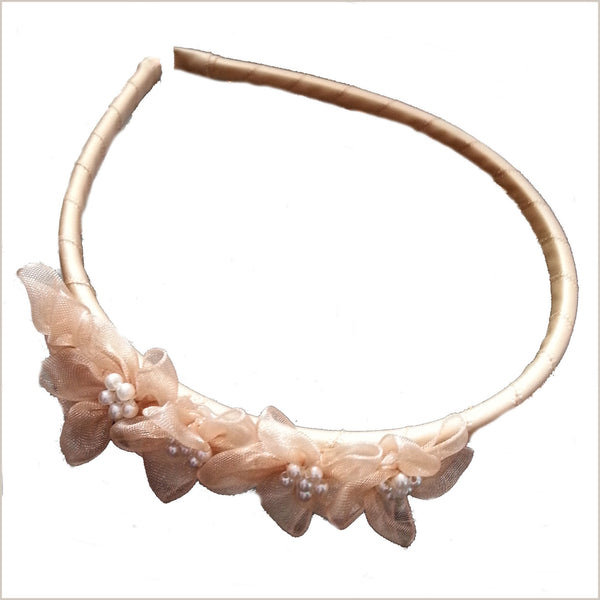 Champagne Hairband with Organza Flowers