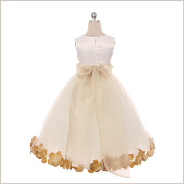 Ivory Petal Dress with Champagne Petals -5 weeks for DELIVERY