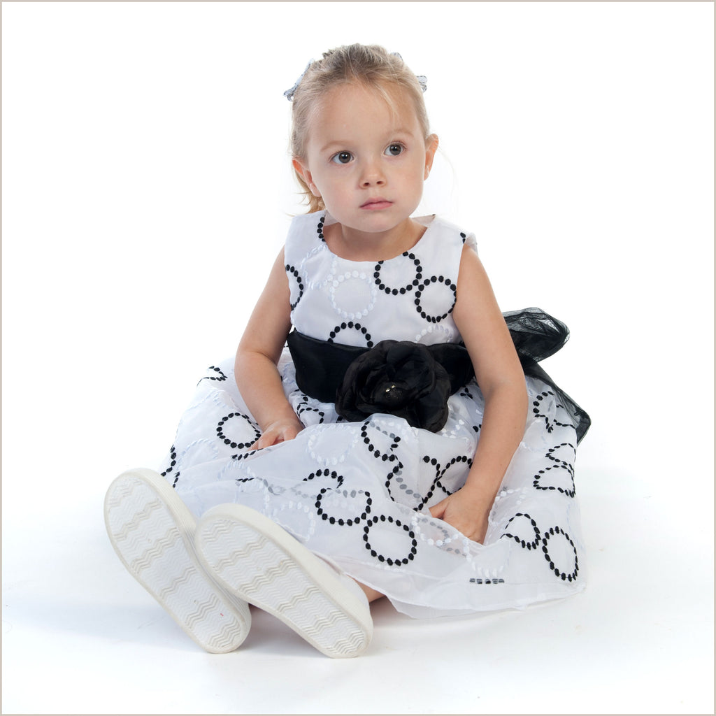 Holly White and Black Circle Embroidered Flower Girl Dress