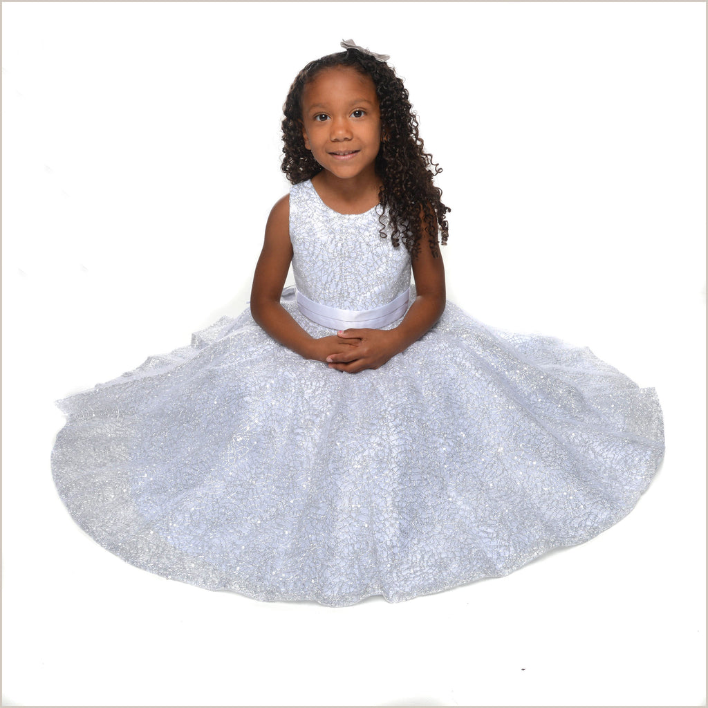 Clio White & Silver Dress with Circular Skirt 2y and 4y left
