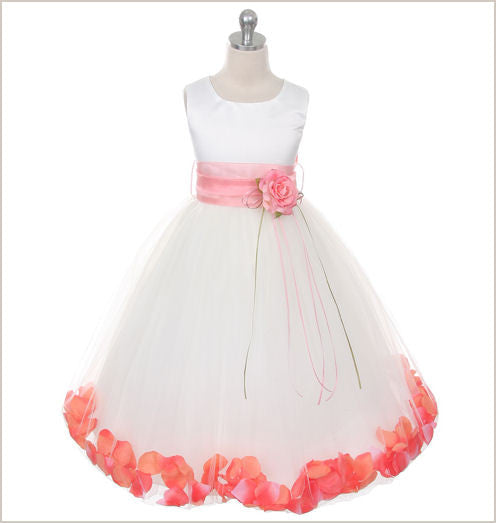 Ivory Petal Dress with Coral Petals - 5 weeks delivery