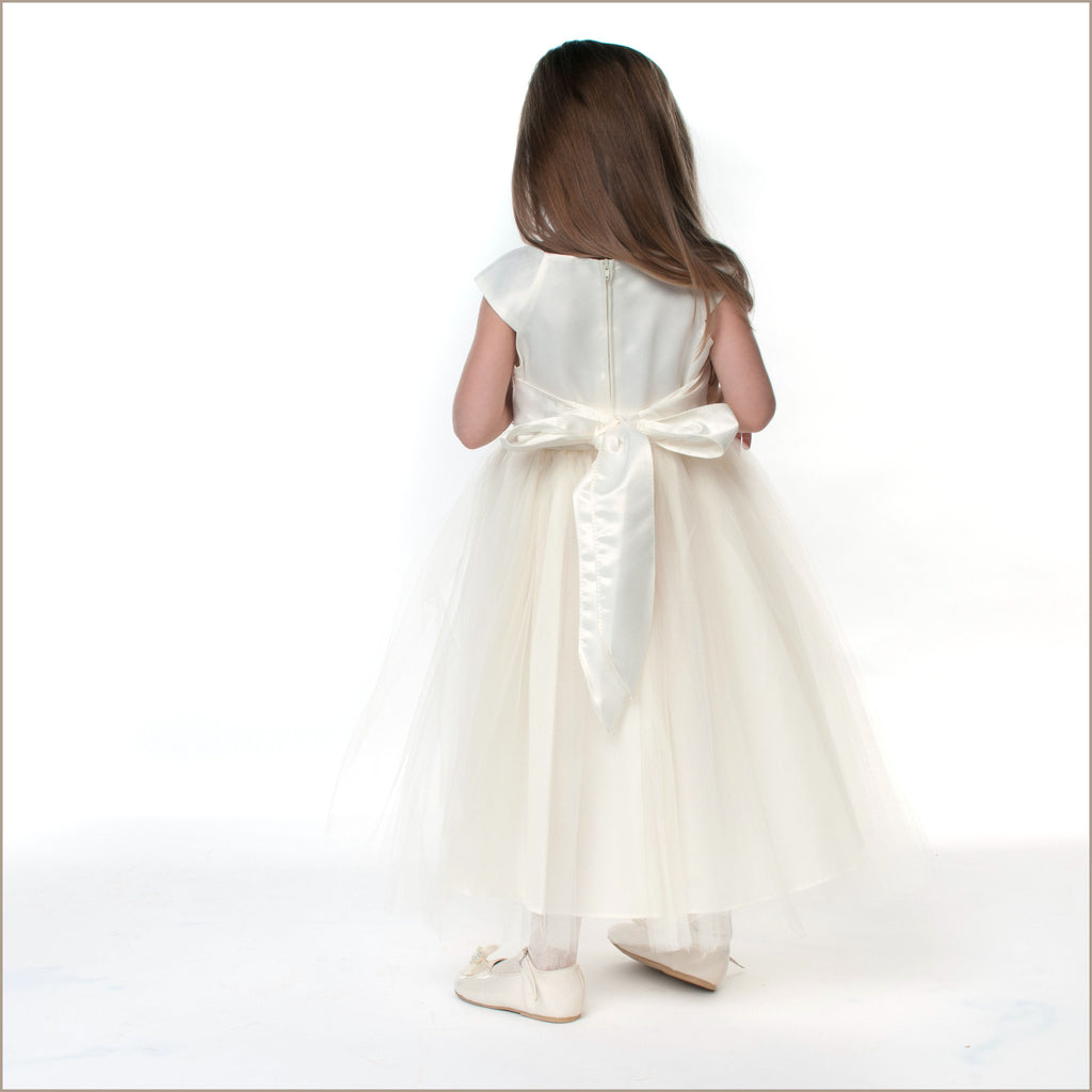 Cremona ivory organza flower girl dresses 2 12 years with beaded waist from D