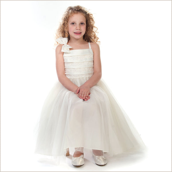 Paris Ivory Flower Girl Dress with Pretty Bodice