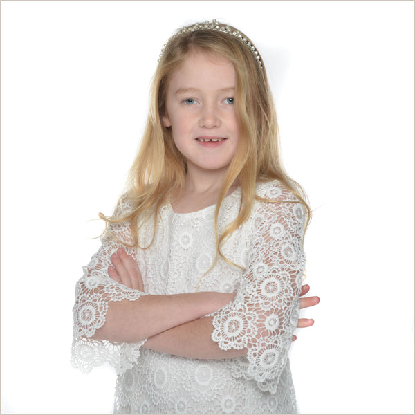 Aria Boho Style Ivory Crochet Lace Flower Girl Dress 6y last one!